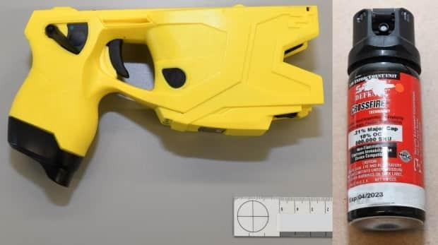 All three officers used the same Taser X2 model, as pictured in the SIU's report. Also pictured is a canister of pepper spray used by the officer who spoke with investigators.