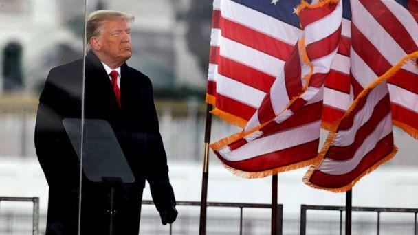 PHOTO: President Donald Trump looks on at the end of his speech during a rally to contest the certification of the 2020 presidential election results by the U.S. Congress, in Washington, D.C., Jan. 6, 2021. (Jim Bourg/Reuters, FILE)