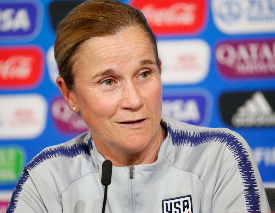 Former United States head coach Jill Ellis answers a question during a Team USA press conference in the FIFA Women's World Cup France 2019 at Stade de Lyon