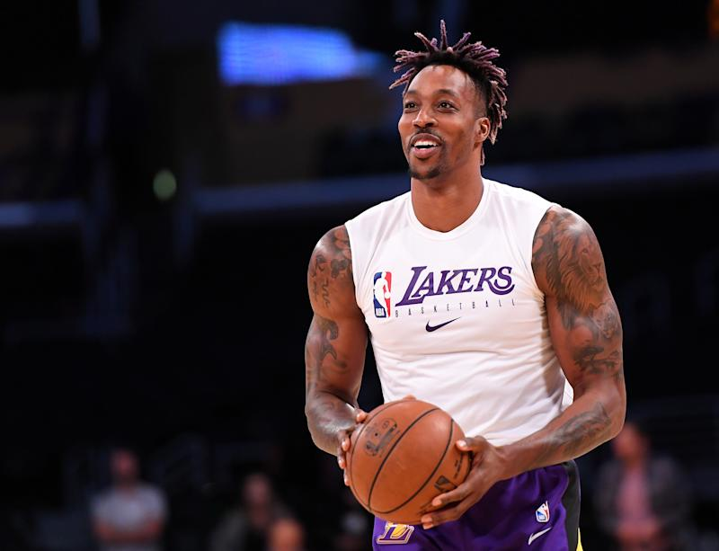 Jan 5, 2020; Los Angeles, California, USA; Los Angeles Lakers center Dwight Howard (39) warms up for the game against the Detroit Pistons at Staples Center. Mandatory Credit: Jayne Kamin-Oncea-USA TODAY Sports