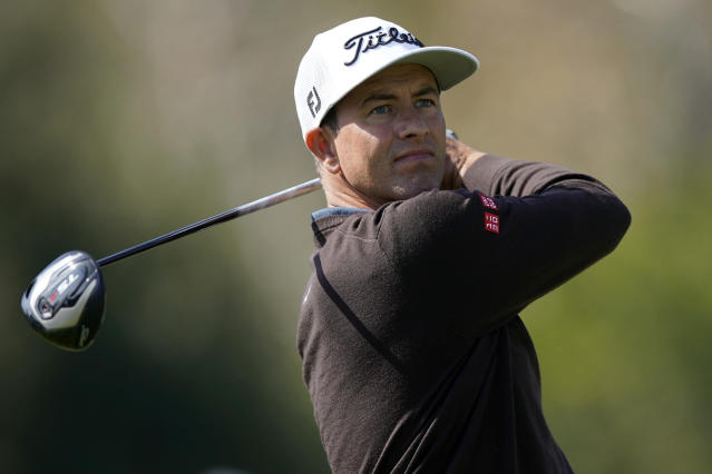 Adam Scott, of Australia, tees off on the 17th hole during the second round of the Genesis Invitational golf tournament at Riviera Country Club, Friday, Feb. 14, 2020, in the Pacific Palisades area of Los Angeles. (AP Photo/Ryan Kang)