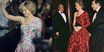 <p>It seems likely that <em>The Crown </em>was inspired by Princess Diana's black and red ruched taffeta evening gown, designed by Catherine Walker, for the ensemble they created in season four. The one shoulder evening gowns are strikingly similar, featuring full skirts, a drop waist and floral pattern. </p>