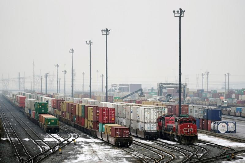 FILE PHOTO: Trains are seen in the yard at the at the CN Rail Brampton Intermodal Terminal in Brampton