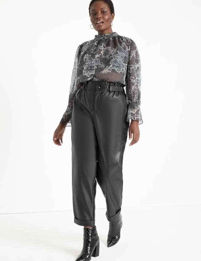 Ruffle Waist Vegan Faux Leather Pant. Image via Eloquii.