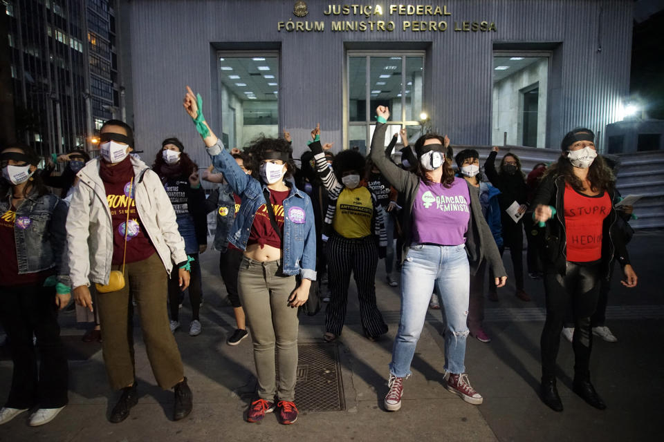 After repercussion of Mariana Ferrer case, women protest in front of Supreme Federal Court (STF), in Sao Paulo, Brazil, on November 4, 2020. (Photo by Cris Faga/NurPhoto via Getty Images)