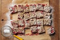 """The combination of fresh berries and a jar of preserves creates beautiful, ruby red, candy-like edges, with a bit of ooze in the center of these bar cookies. <a href=""""https://www.epicurious.com/recipes/food/views/strawberry-buckwheat-bars-56389816?mbid=synd_yahoo_rss"""" rel=""""nofollow noopener"""" target=""""_blank"""" data-ylk=""""slk:See recipe."""" class=""""link rapid-noclick-resp"""">See recipe.</a>"""