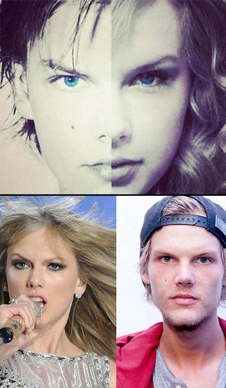 """<p>Although their music couldn't be more different, country-pop chanteuse Taylor Swift and Swedish DJ Avicii bear a strong physical resemblance to one another, and Swift even insinuated that they might share relatives in common. The 'Shake It Off' singer recently posted a photo of their faces merged together on Instagram with the caption, """"Just saw this, then immediately called my parents and asked them point blank if they kidnapped me from Avicii's family in Sweden when I was a baby. Of course they denied it. They would. #heyyyyybrother #WHOAMIACTUALLY.""""</p>"""