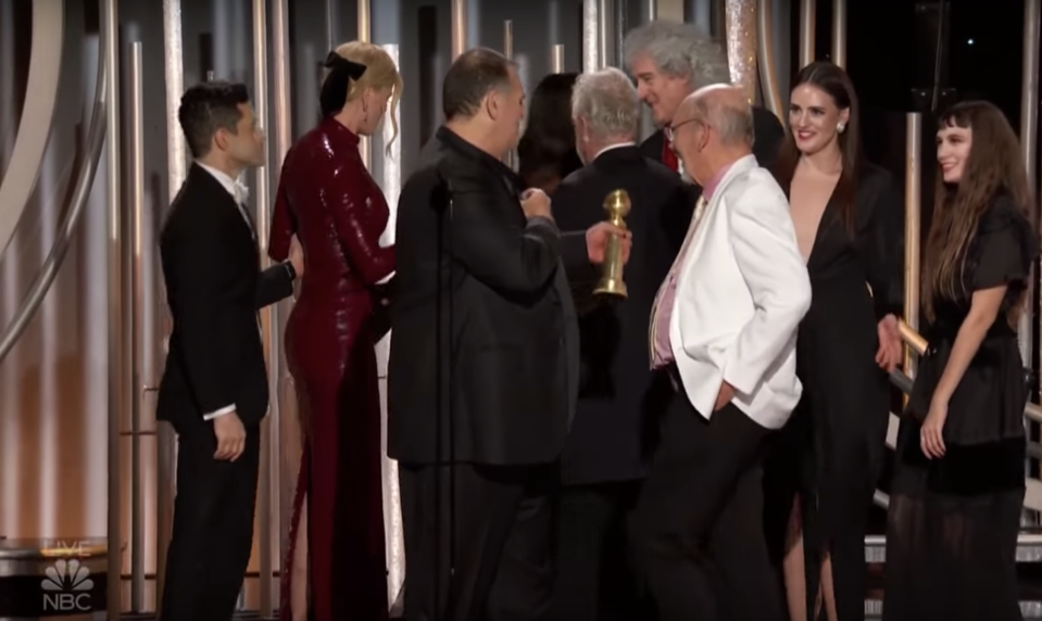 Nicole Kidman awkwardly snubbed Rami Malek on stage at the Golden Globes. Source: NBC