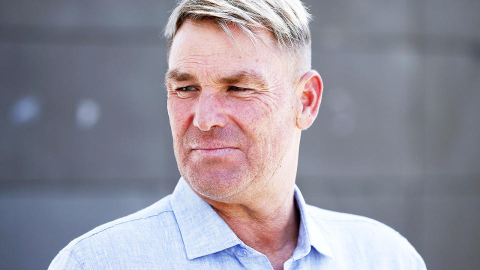 Shane Warne, pictured here speaking to the media at the MCG in 2020.