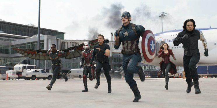 Captain America and pals running for their Disney Christmas bonus [Image via Marvel Studios]