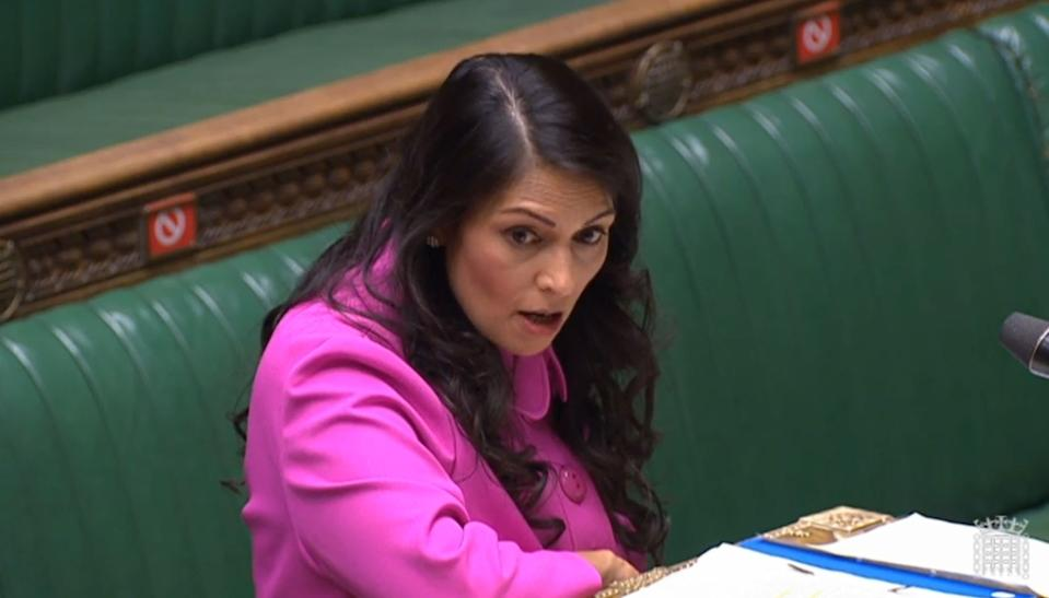 "Home Secretary Priti Patel making a statement to MPs in the House of Commons, London, where she promised a ""full evaluation"" of the hostile environment policy in the wake of the Windrush scandal. (Photo by House of Commons/PA Images via Getty Images)"