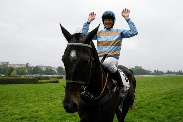 Davy Russell showed little sign of his 40 years in prevailing on Samcro in a thrilling finish to the Novices Chase on the third day of Cheltenham Festival (AFP Photo/GEOFFROY VAN DER HASSELT)