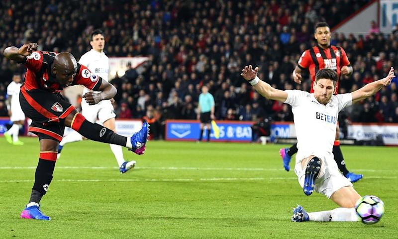 Benik Afobe fires in a shot for Bournemouth's second goal against Swansea.