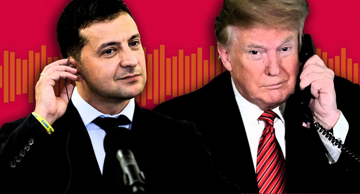 Ukrainian President Volodymyr Zelensky and President Trump with the memo from their July 25, 2019, phone conversation. (Photo Illustration: Yahoo News; photos: Omar Marques/SOPA Images/LightRocket via Getty Images, Jonathan Ernst /Reuters, Getty Images)