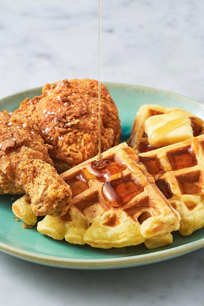 """<p>Here's what mom <em>actually</em> wants for Mother's Day. </p><p>Get the recipe from <a href=""""https://www.delish.com/cooking/recipe-ideas/a26754247/chicken-and-waffles-recipe/"""" rel=""""nofollow noopener"""" target=""""_blank"""" data-ylk=""""slk:Delish"""" class=""""link rapid-noclick-resp"""">Delish</a>.</p>"""