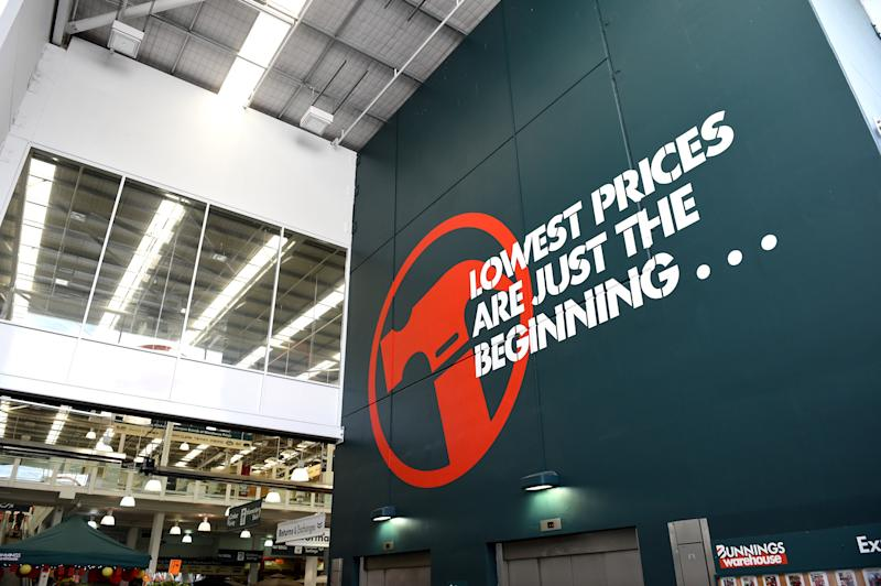 """""""A Lowest Prices are Just the Beginning"""" sign is seen at a Bunnings hardware store at Chatswood, in Sydney, Friday, Feb. 20, 2015."""