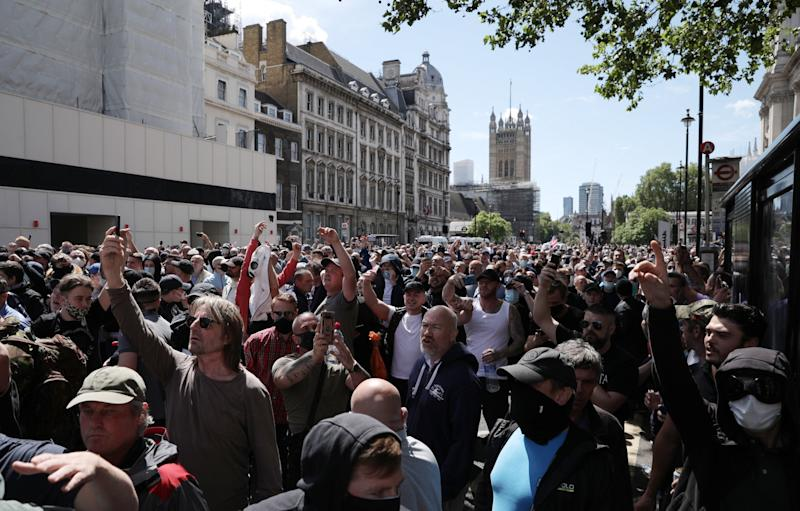 A crowd of right-wing protesters in central London (Getty Images)