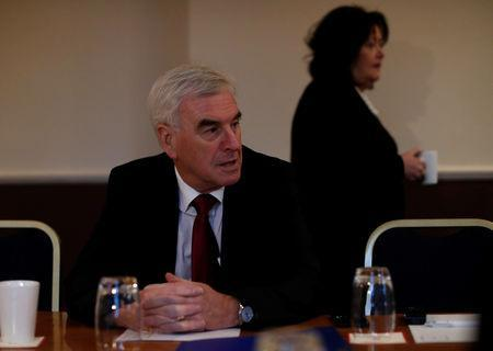 FILE PHOTO: Britain's Shadow Chancellor of the Exchequer John McDonnell takes part in a Q&A with the media in Glasgow, Scotland, Britain, December 7, 2018. REUTERS/Russell Cheyne