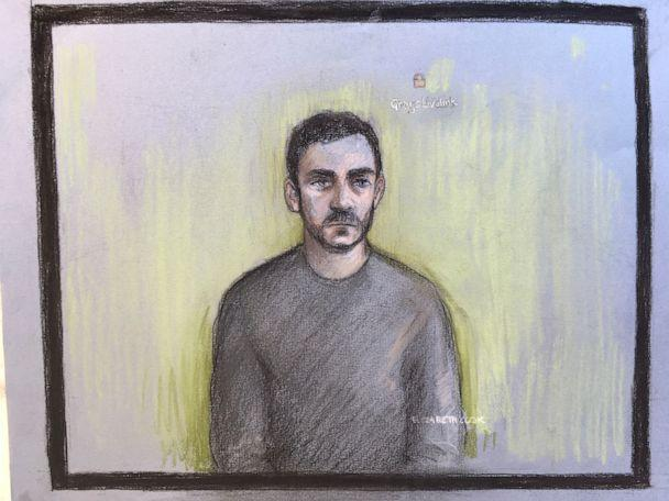 PHOTO: Court artist sketch by Elizabeth Cook shows lorry driver Maurice Robinson, 25, at Chelmsford Magistrates' Court in England, on Oct. 28, 2019. (Elizabeth Cook/PA via AP)