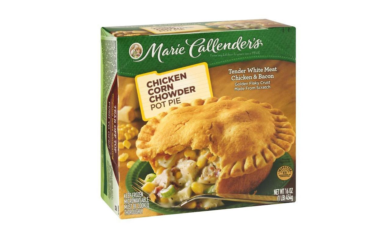 "<p>Marie Callender's Cheesy Chicken & Bacon Pot Pie has a flaky, doughy crust stuffed with a creamy, bacon-filled interior. The nutrition facts on this pot pie split the meal into two servings, but you're probably going to eat the whole thing. One pot pie contains 1,020 calories and 64 grams of fat. It also contains over 60 percent of your recommended daily limit for sodium and 140 percent of your daily intake of saturated fat. Eating too much processed meat from foods such as bacon <a href=""https://www.thedailymeal.com/healthy-eating/cardiologists-worst-habits-heart?referrer=yahoo&category=beauty_food&include_utm=1&utm_medium=referral&utm_source=yahoo&utm_campaign=feed"">could put your heart health at risk</a>.</p>"