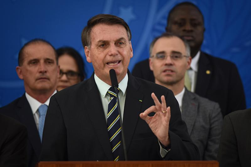 Pictured during a press conference is Jair Bolsonaro, Brazil's president.