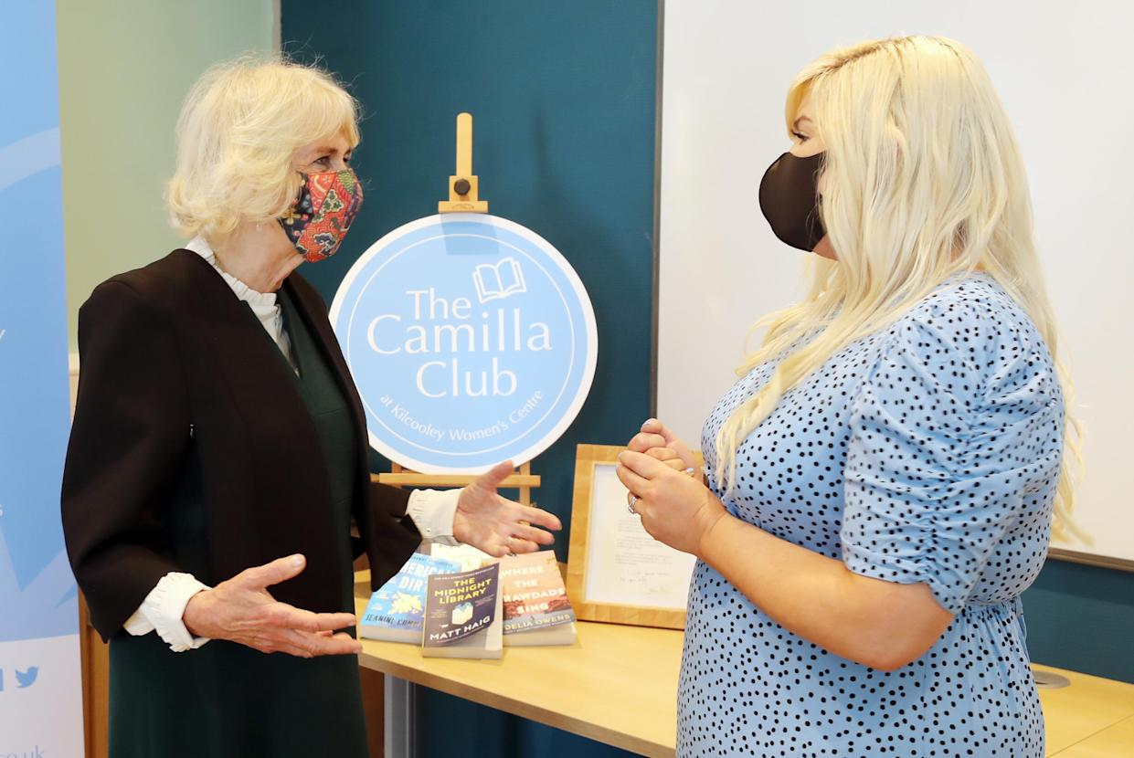 BANGOR, NORTHERN IRELAND - MAY 19: Camilla, Duchess of Cornwall visits the Kilcooley Women's Centre to meet staff and learn about the groups' work from its members on May 19, 2021 in Bangor, Northern Ireland. (Photo by Pool/Samir Hussein/WireImage)