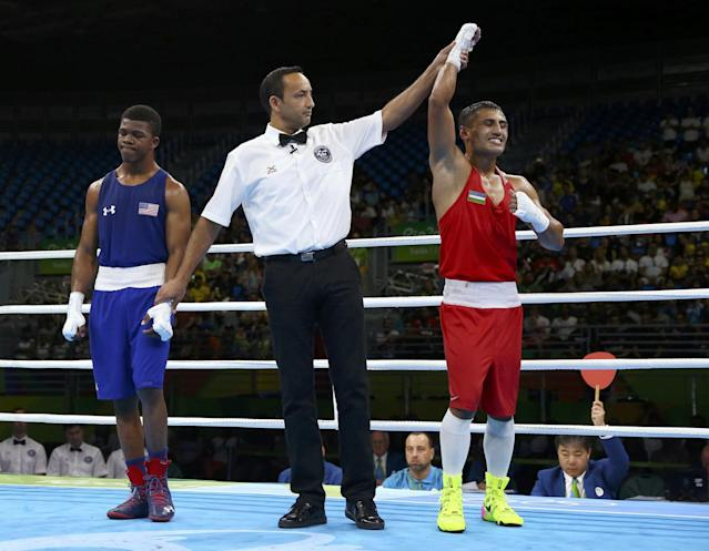 "Gary Antuanne Russell suffered an ""inexplicable"" loss to <a class=""link rapid-noclick-resp"" href=""/olympics/rio-2016/a/1103432/"" data-ylk=""slk:Fazliddin Gaibnazarov"">Fazliddin Gaibnazarov</a>. (Getty Images)"