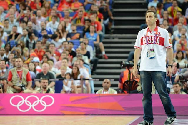 LONDON, ENGLAND - AUGUST 10: Head Coach David Blatt of Russia looks on versus Spain during their Basketball Game on Day 14 of the London 2012 Olympic Games at the North Greenwich Arena on August 10, 2012 in London, England. NOTE TO USER: User expressly acknowledges and agrees that, by downloading and/or using this Photograph, user is consenting to the terms and conditions of the Getty Images License Agreement. Mandatory Copyright Notice: Copyright 2012 NBAE (Photo by Garrett W. Ellwood/NBAE via Getty Images)