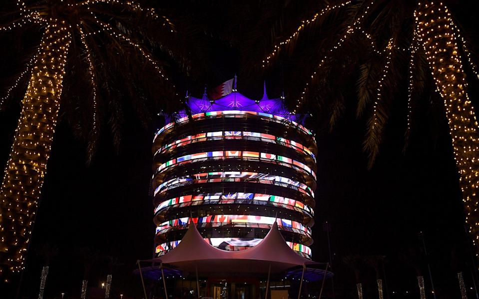 The Sakhir Tower is lit up during previews ahead of the F1 Grand Prix of Bahrain at Bahrain International Circuit on March 25, 2021 in Bahrain, Bahrai - Formula 1/Clive Mason - Formula 1