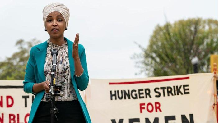 Ilhan Omar at a rally in April 2021 to support a Hunger Strike for Yemen