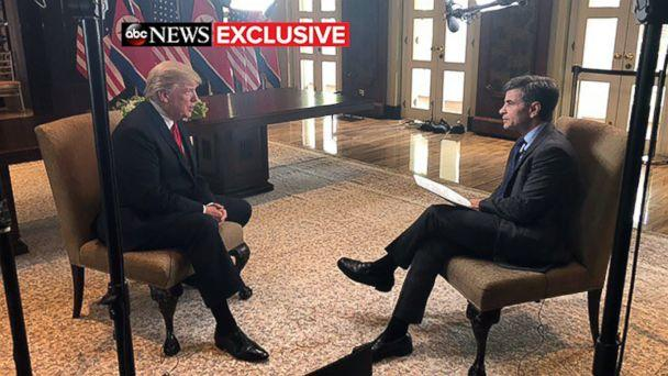 PHOTO: President Donald Trump talks to ABC News' George Stephanopoulos after a historic summit with North Korea's Kim Jong Un at the Capella Hotel on Sentosa island in Singapore, June 12, 2018. (ABC News)