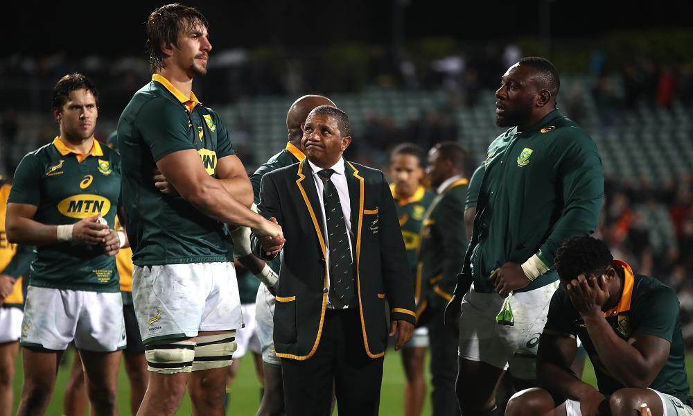 South Africa players and officials look distraught after their 57-0 drubbing by the All Blacks in Auckland on Saturday, a 14th defeat in their last 16 Tests.