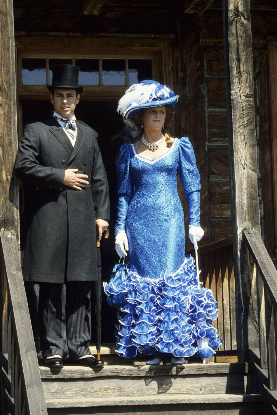 <p>Prince Andrew and Sarah Ferguson in traditional Klondike costumes during a visit to Fort Edmonton, Canada.</p>