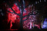 <p>Dannielle McAllister looks at one of a series of light installations that feature in Christmas at the Botanics which is a one-mile illuminated trail through the Royal Botanic Garden Edinburgh. (PA) </p>