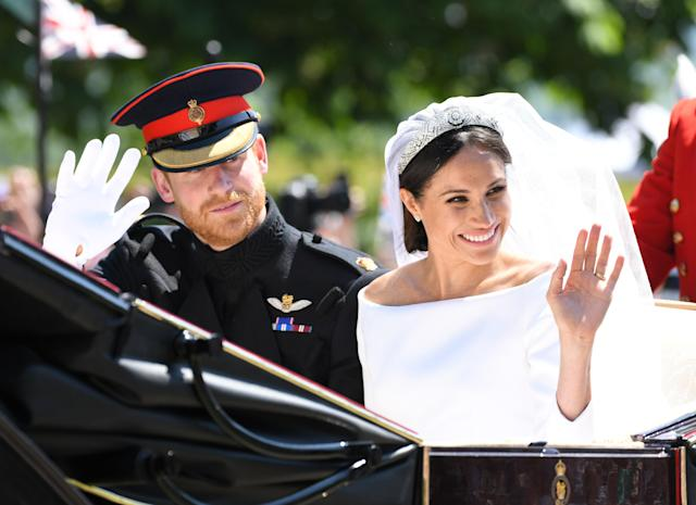 Meghan Markle's Givenchy dress will be on public display at Windsor Castle starting in October, along with a replica of Prince Harry's Household Cavalry uniform. (Photo: Karwai Tang/WireImage)