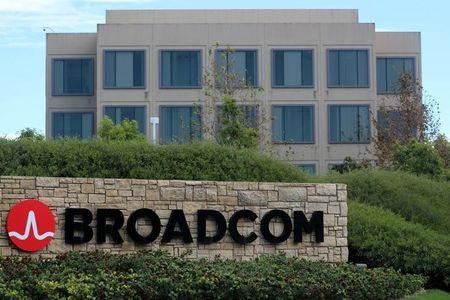 A sign to the campus offices of chip maker Broadcom Ltd is shown in Irvine, California