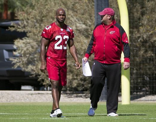 Oct 11, 2017; Tempe, AZ, USA; Arizona Cardinals running back Adrian Peterson talks with running backs coach Freddie Kitchens during practice at the team's training facility. Mandatory Credit: Michael Chow/The Arizona Republic via USA TODAY NETWORK