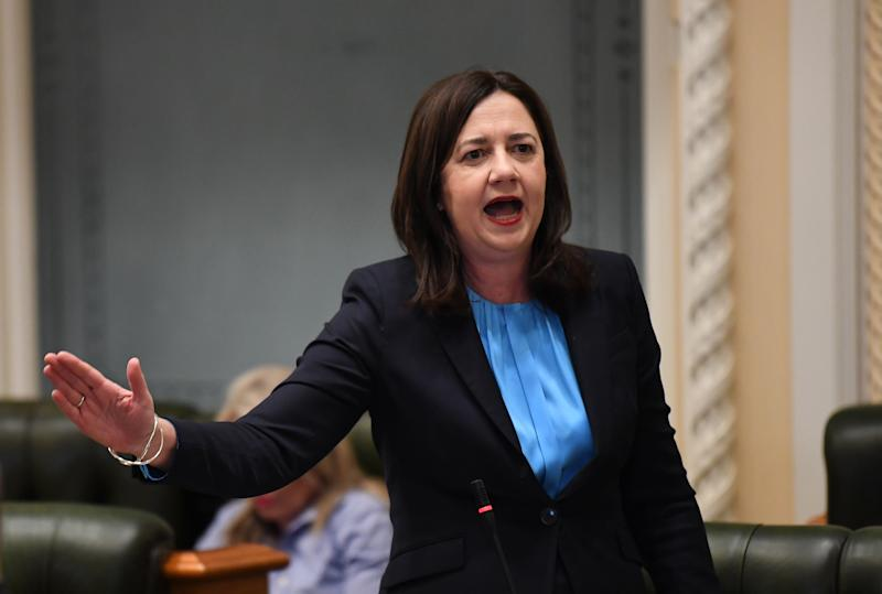Queensland Premier Annastacia Palaszczuk speaks during Question Time at Parliament House in Brisbane, where she was grilled over border restrictions.