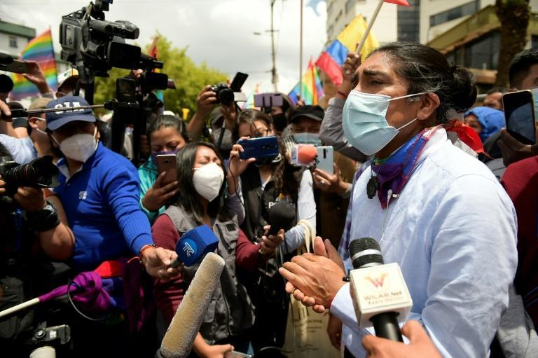Ecuador Presidential cadidate Yaku Perez speaks to reporters outside the National Electoral Council in Quito