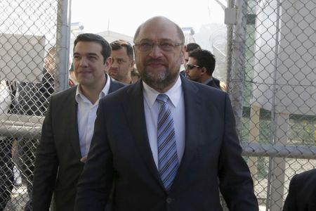 EU Parliament President Schulz and Greek PM Tsipras visit the Moria refugee camp on the Greek island of Lesbos