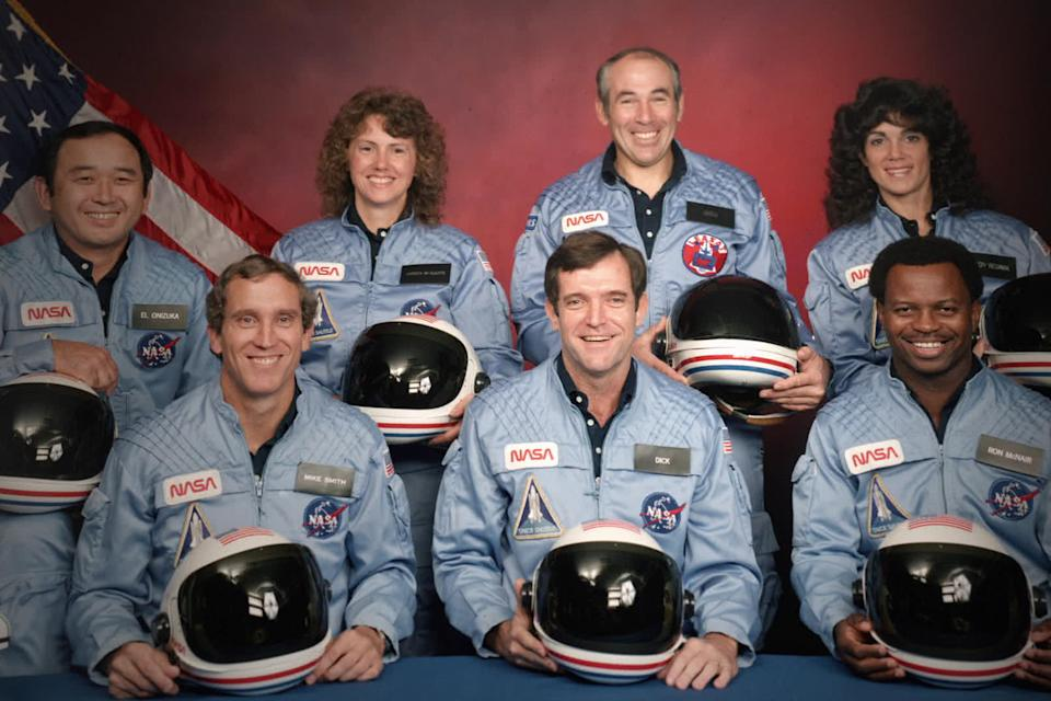 The crew of the Space Shuttle Challenger: Ellison S. Onizuka; Mike Smith; Christa McAuliffe; Dick Scobee; Gregory Jarvis; Judith Resnik; and Ronald McNair (Photo: Public Domain/NASA)