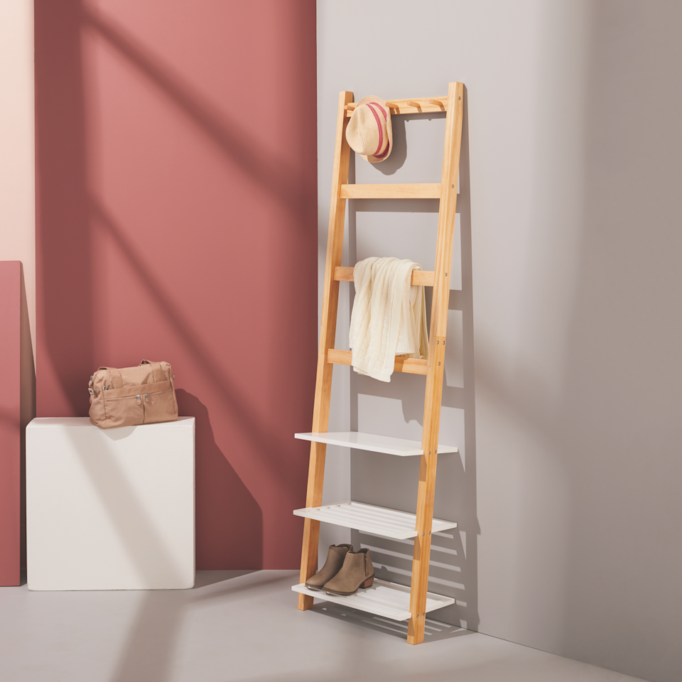 Leaning hallway organizer for coats and shoes