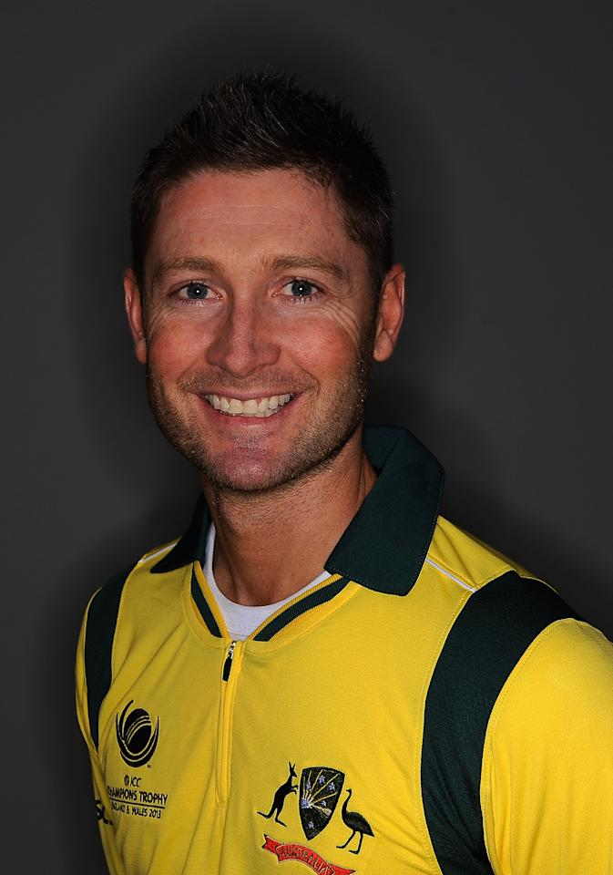 CARDIFF, WALES - MAY 29:  Captain Michael Clarke of Australia during the Australia Portrait Session at The St David Hotel on May 29, 2013 in Cardiff, Wales.  (Photo by Christopher Lee-ICC/ICC via Getty Images)