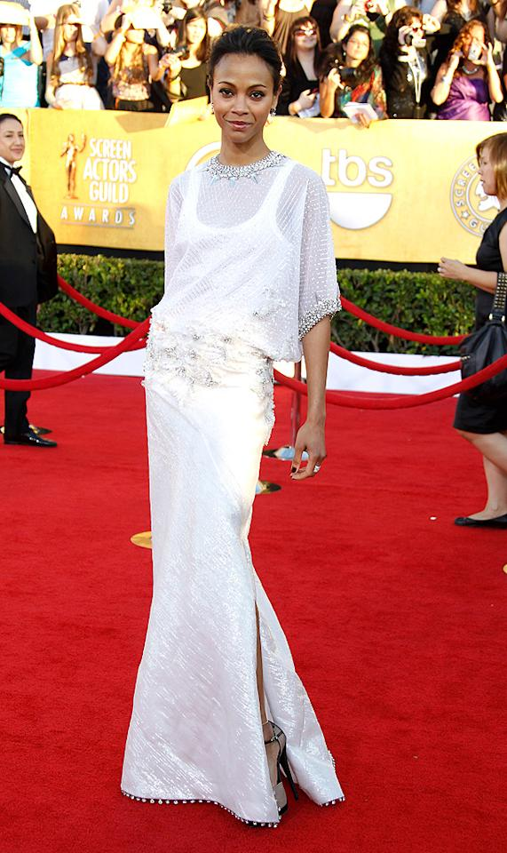 LOS ANGELES, CA - JANUARY 29: Actress Zoe Saldana arrives at the 18th Annual Screen Actors Guild Awards held at The Shrine Auditorium on January 29, 2012 in Los Angeles, California. (Photo by Dan MacMedan/WireImage)