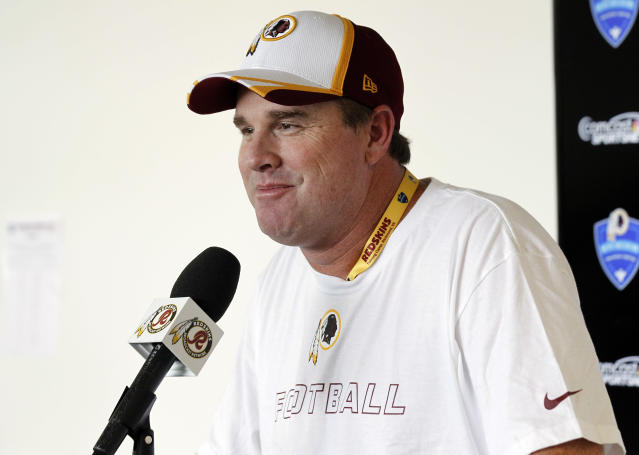 Washington Redskins head coach Jay Gruden pauses while speaking during a media availability at the team's NFL football training facility, Thursday, July 24, 2014 in Richmond, Va. (AP Photo)