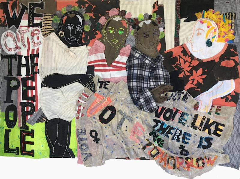 """Silvana Sorianos's handmade 3-D quilt, """"WeAreThePeople,"""" is part of the show """"Forty Women Pulling at The Threads of Social Discourse,"""" at The Camp Gallery."""