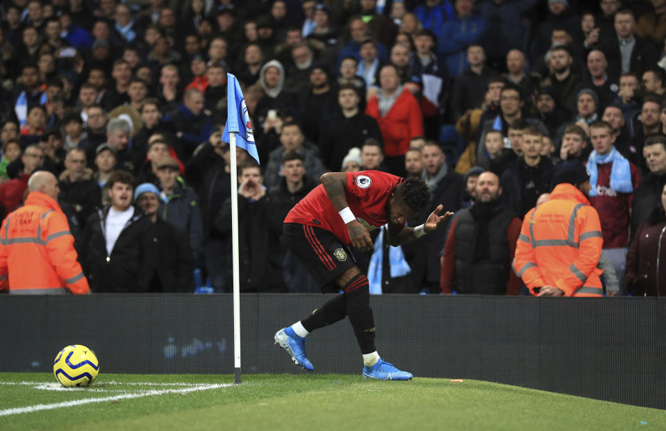 Manchester City is investigating racist abuse from a fan toward Manchester United's Fred (pictured) and Jesse Lingard. (Mike Egerton/PA via AP)
