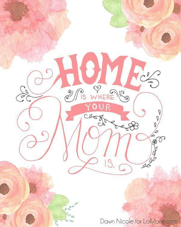 """<p>This cute watercolor flower design is perfect for the holiday, and Mom will love knowing that you'll always feel at home with her.</p><p><em><strong>Get the printable at <a href=""""https://lollyjane.com/free-printable-hand-lettered-mothers-day-cards/"""" rel=""""nofollow noopener"""" target=""""_blank"""" data-ylk=""""slk:Lolly Jane"""" class=""""link rapid-noclick-resp"""">Lolly Jane</a>.</strong></em></p>"""