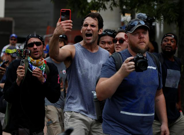 <p>Counter-protesters shout near a white nationalist-led rally marking the one year anniversary of the 2017 Charlottesville 'Unite the Right' protests, in Washington, D.C. August 12, 2018. (Photo: Jim Urquhart/Reuters) </p>