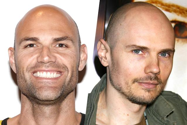 <p>American beach volleyball player Phil Dalhausser (left) and Smashing Pumpkins singer Billy Corgan (right). </p>
